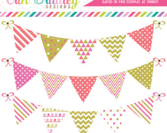 Clipart Bunting Banner Flag Graphics Set in by ErinBradleyDesigns.