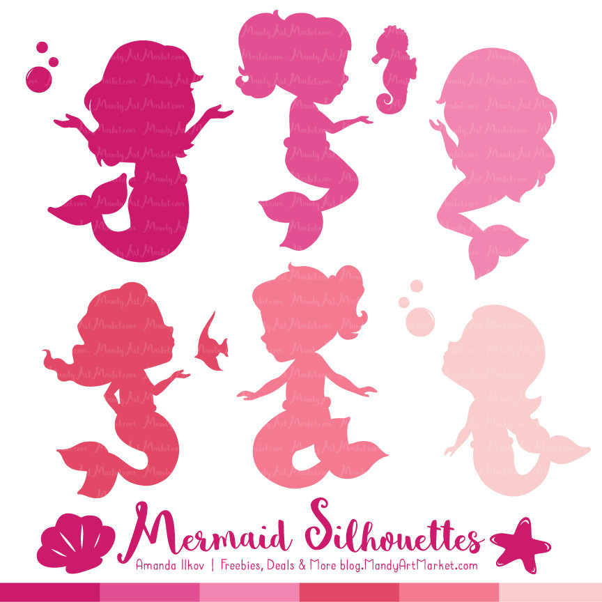 Shades of Pink Mermaid Silhouettes Vector Clipart.