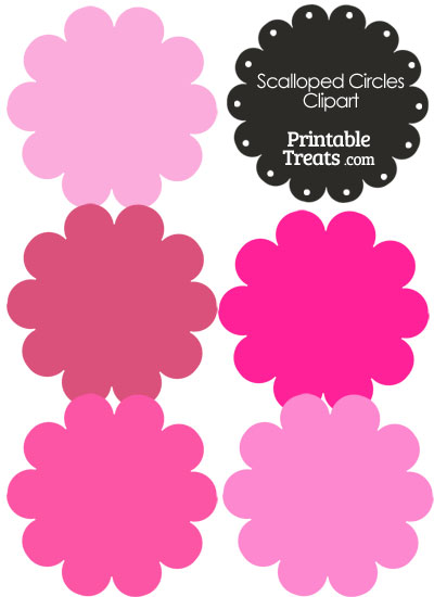 Scalloped Circles Clipart in Shades of Pink — Printable Treats.com.