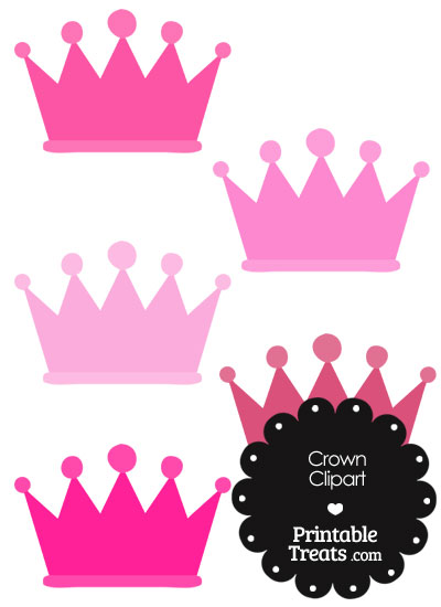 Crown Clipart in Shades of Pink — Printable Treats.com.