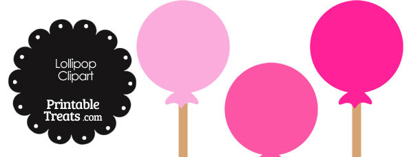 Lollipop Clipart in Shades of Pink — Printable Treats.com.