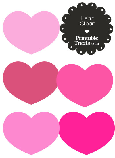Heart Clipart in Shades of Pink — Printable Treats.com.