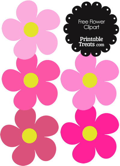 Cute Flower Clipart in Shades of Pink — Printable Treats.com.