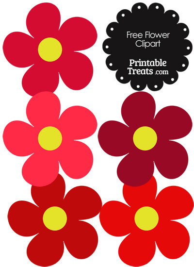 Cute Flower Clipart in Shades of Red — Printable Treats.com.