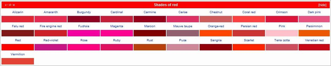 78 Best ideas about Shades Of Red Names on Pinterest.