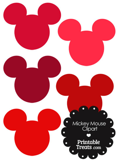 Mickey Mouse Head Clipart in Shades of Red — Printable Treats.com.