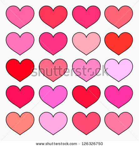 Hearts Various Shades Red Pink Color Stock Vector 126326750.