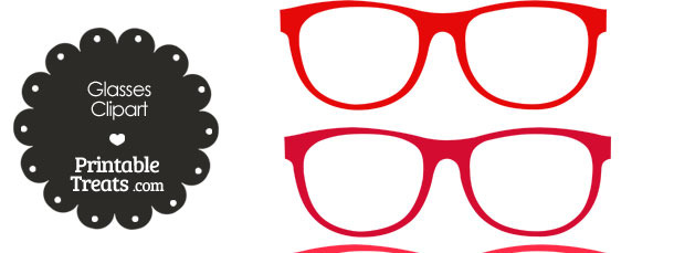 Glasses Clipart in Shades of Red — Printable Treats.com.
