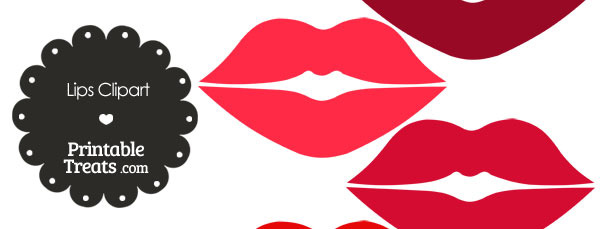 Lips Clipart in Shades of Red — Printable Treats.com.
