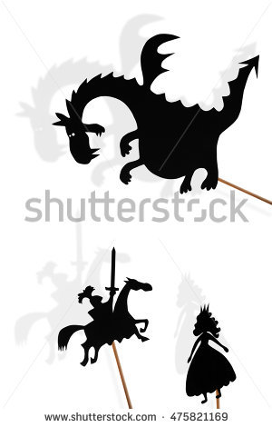 Fairy Godmother Cinderella Shadow Puppets Shade Stock Illustration.
