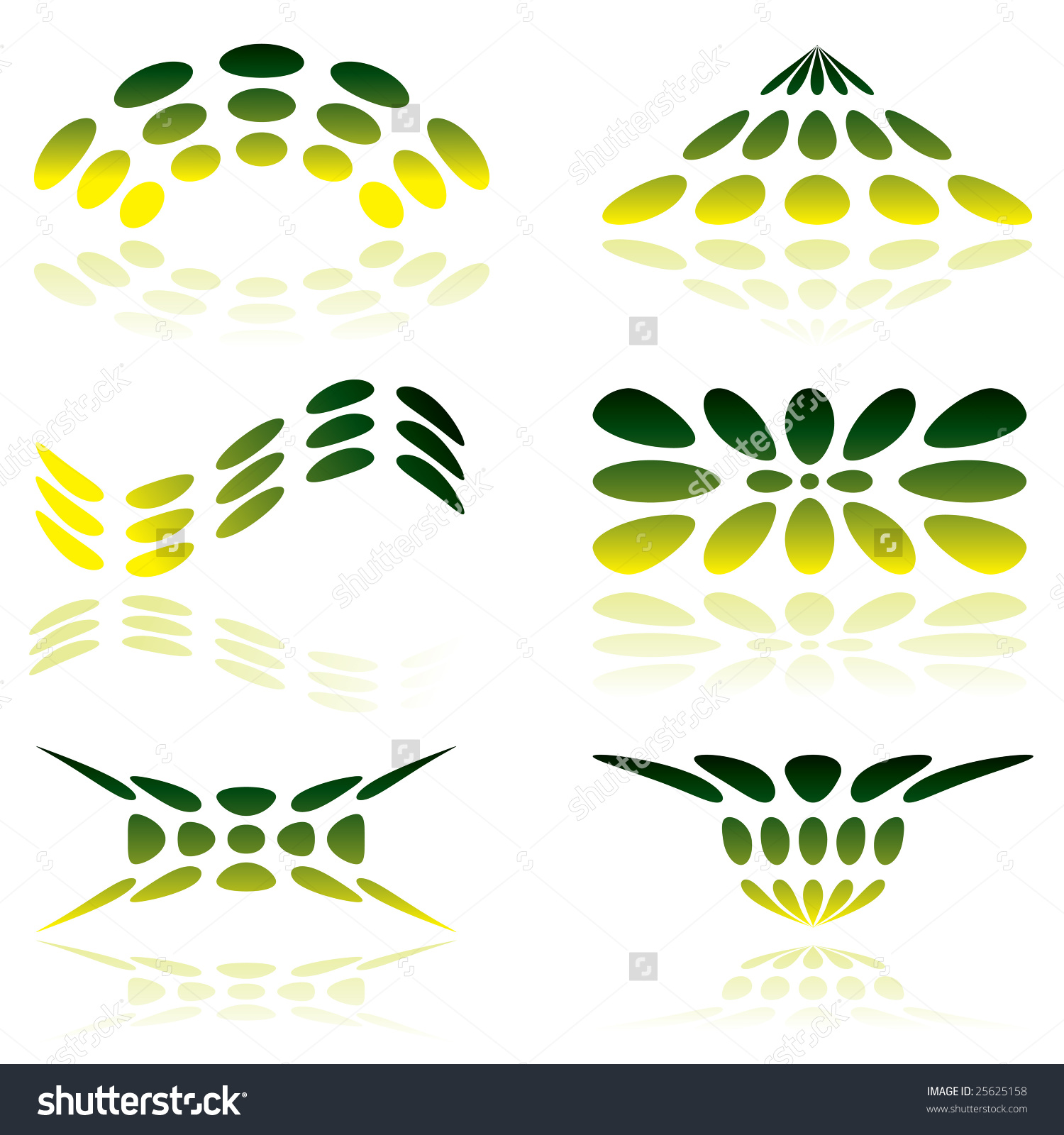 Shades Of Green Illustrated Logo With Reflected Shadow Stock.