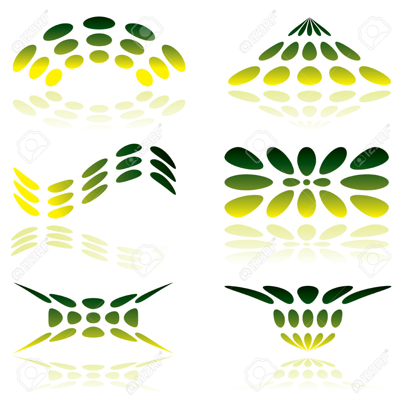 Shades Of Green Illustrated Logo With Reflected Shadow Royalty.