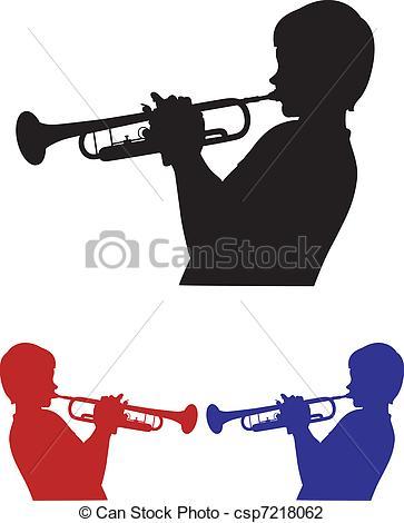 Vector Illustration of three shades of trumpeter.