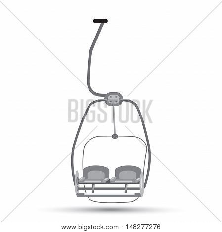 ski lift with a shadow in shades of gray on a white background.