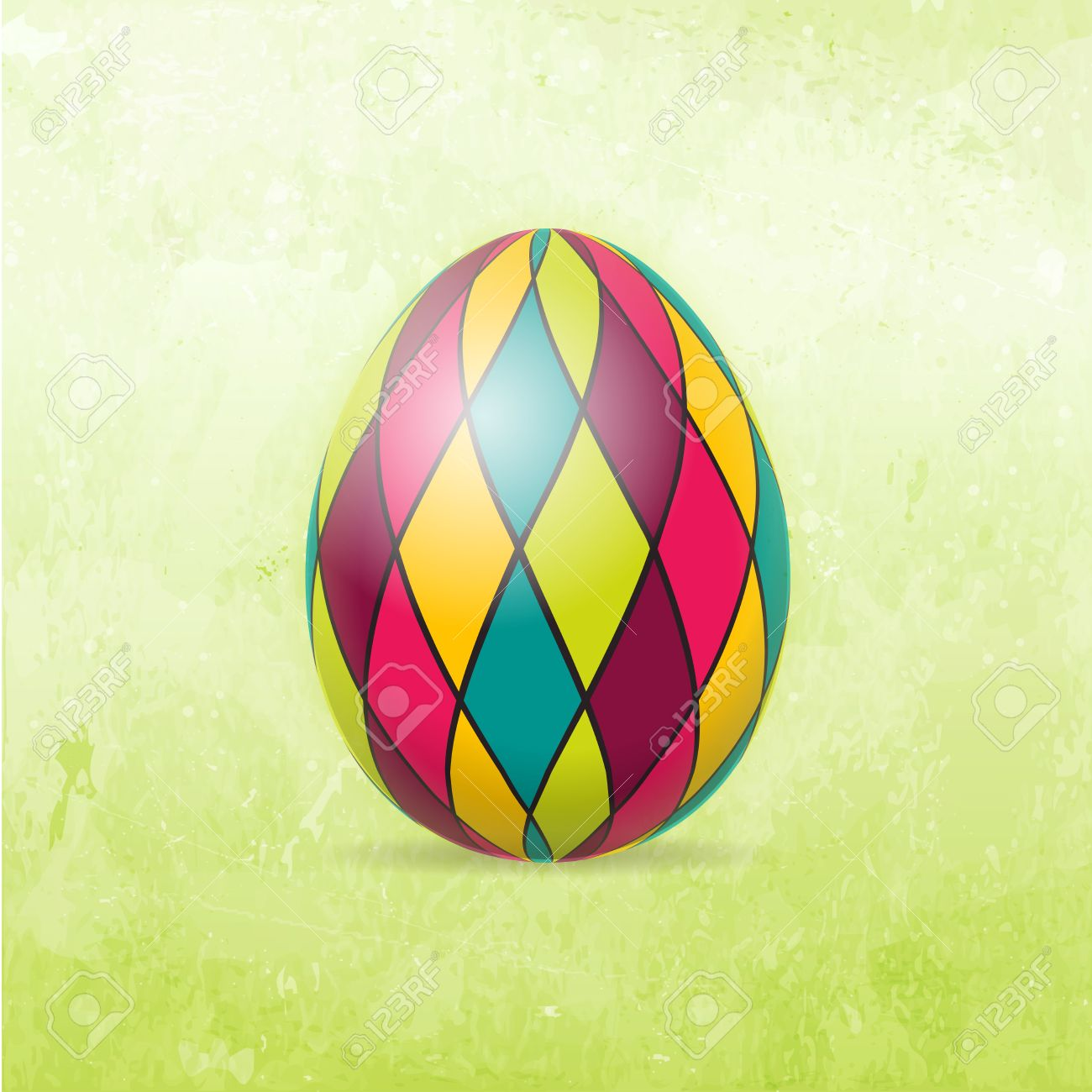 Checkered Easter Egg In Bright Colors On Distressed Background.