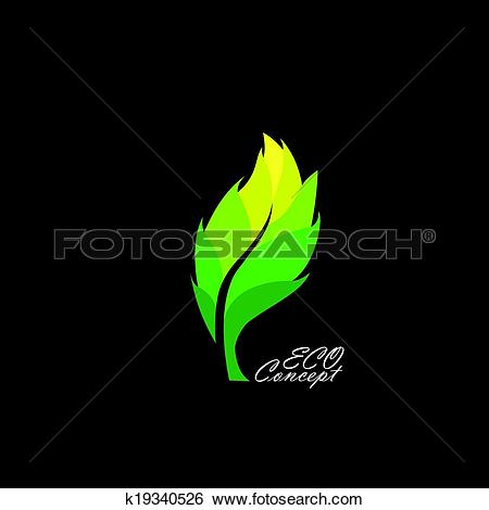 Clip Art of green leaf icon with dark & light shades.