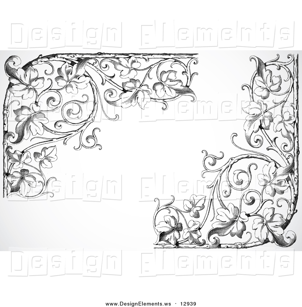 Clipart of Black and White Ornate Leafy Floral Corner Borders on.