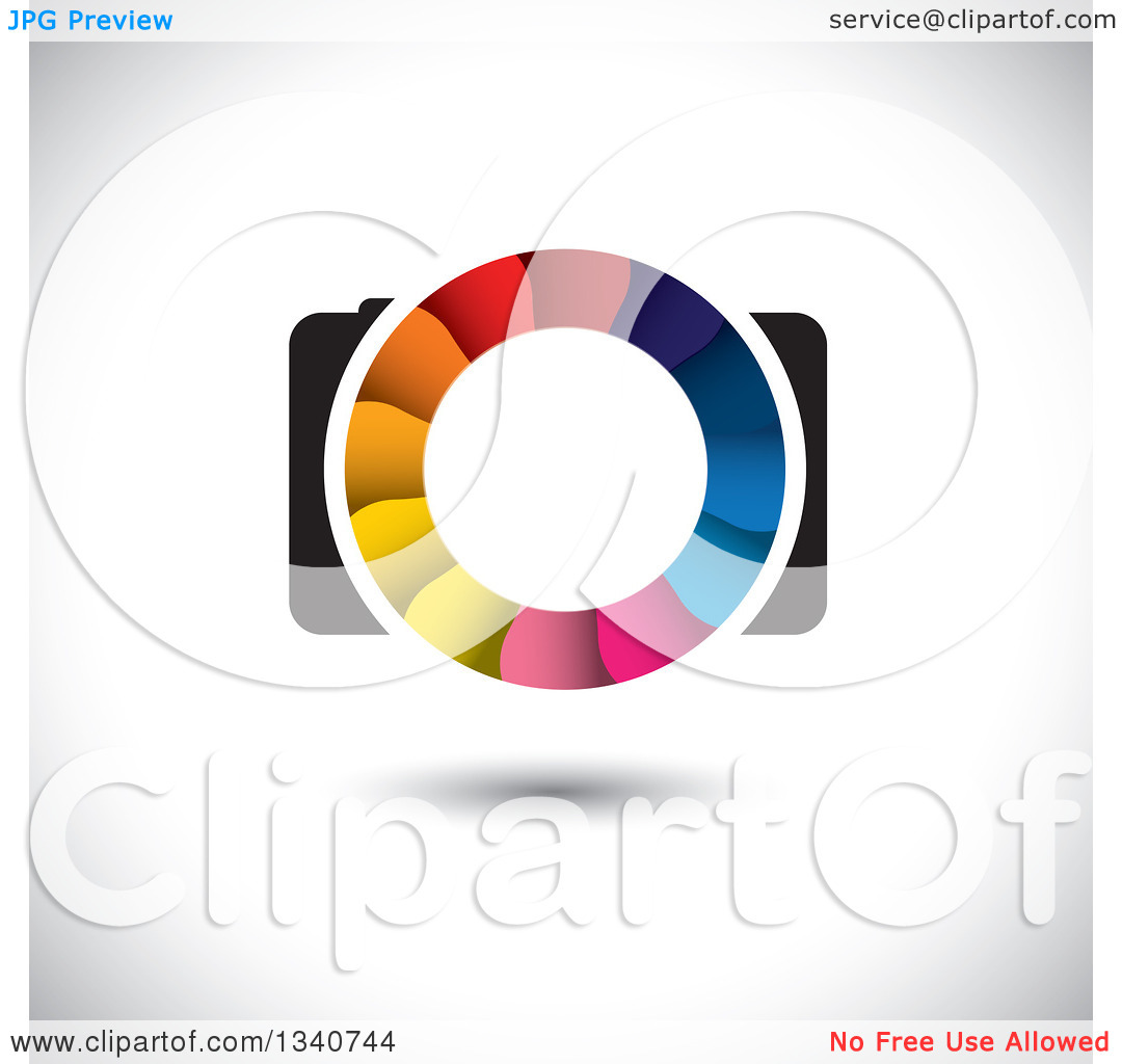 Clipart of a Floating Camera with a Colorful Shutter Lens on.