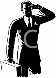 Businessman Carrying His Briefcase and Shading His Eyes with His.