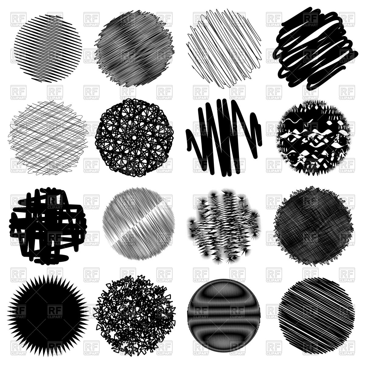Hand drawn sketch circles with shading fill Vector Image #90797.