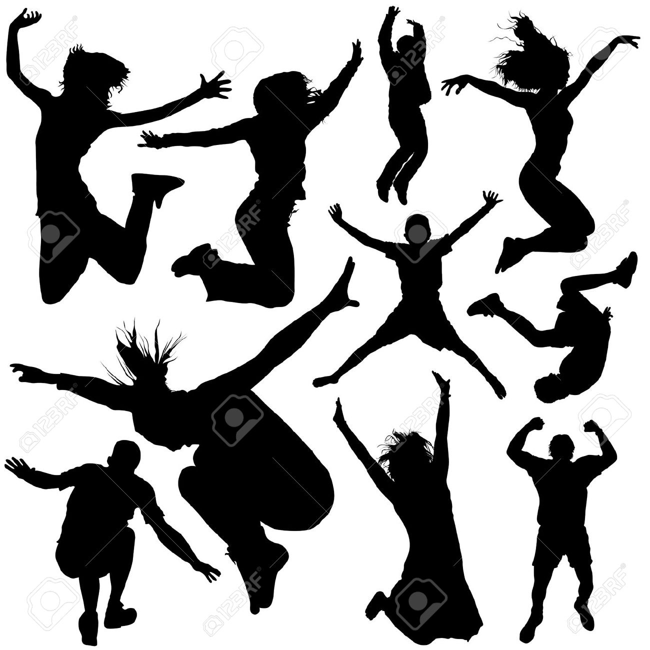 Jumping People Royalty Free Cliparts, Vectors, And Stock.