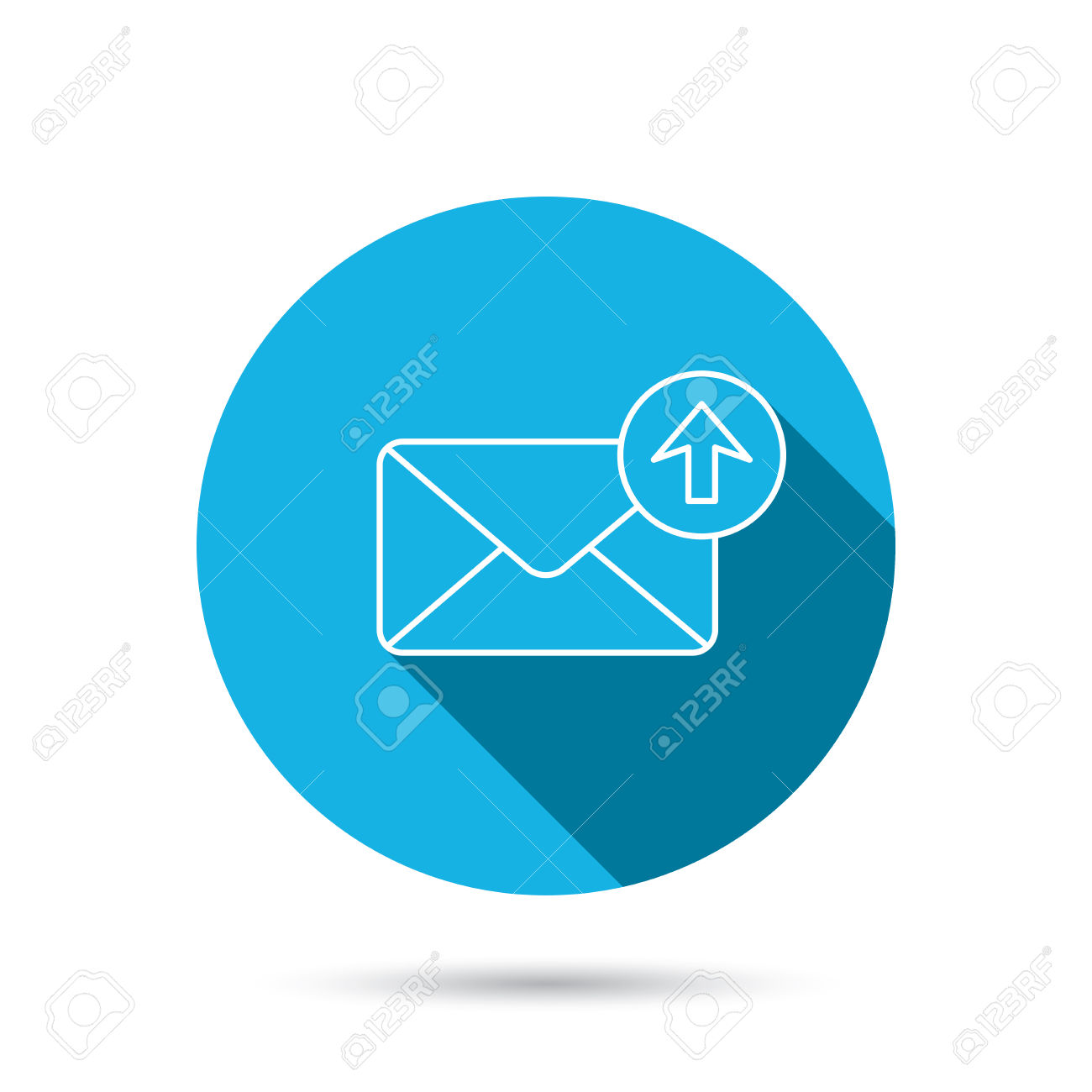 Mail Outbox Icon. Email Message Sign. Upload Arrow Symbol. Blue.