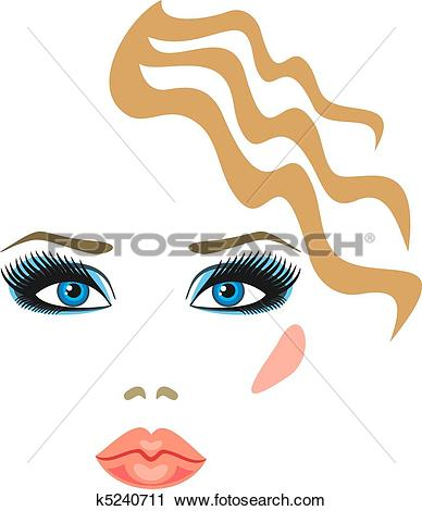 Clipart of makeup with eye shadow and lipstick k5240711.