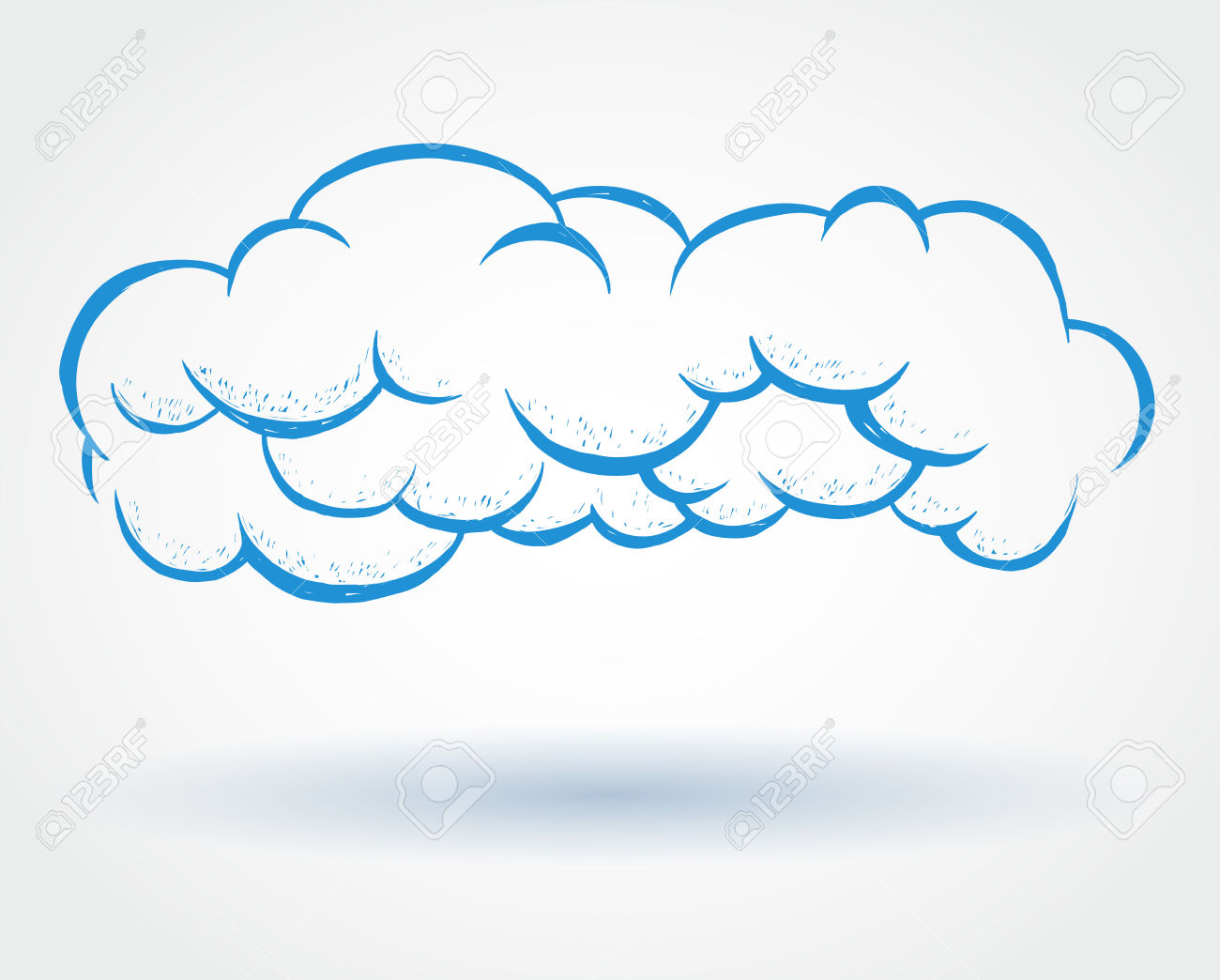 Blue Doodle Style Cloud Drawing With Shadow On White Background.