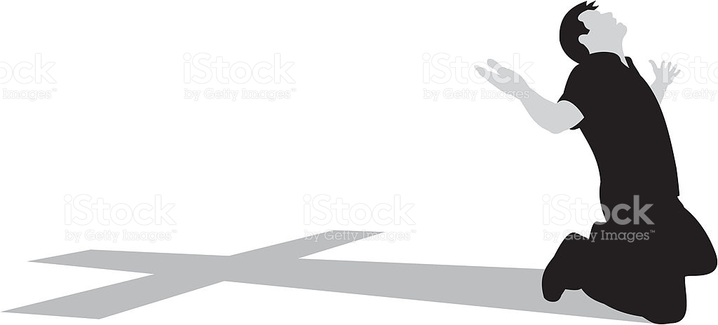 Kneeling At The Cross stock vector art 165760993.