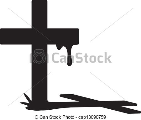 Clipart Vector of Cross silhouette.
