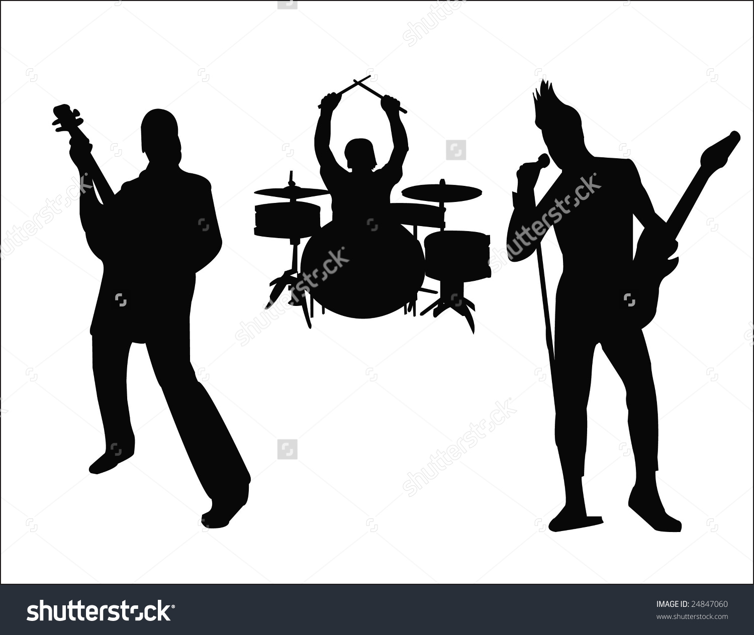 Silhouette Rock Band Stock Vector 24847060.