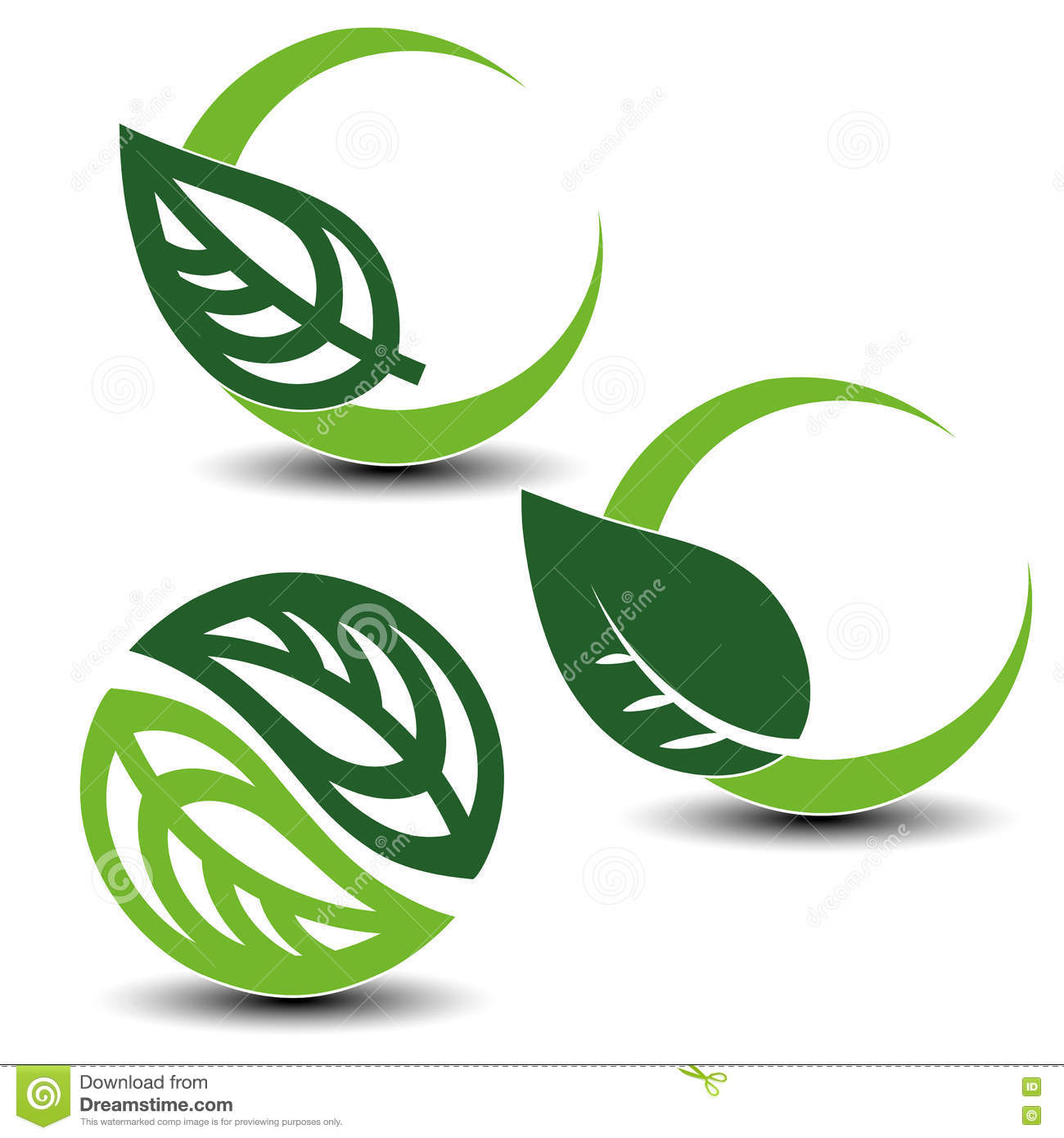 Nature Circular Symbols With Leaf, Natural Simple Elements, Green.