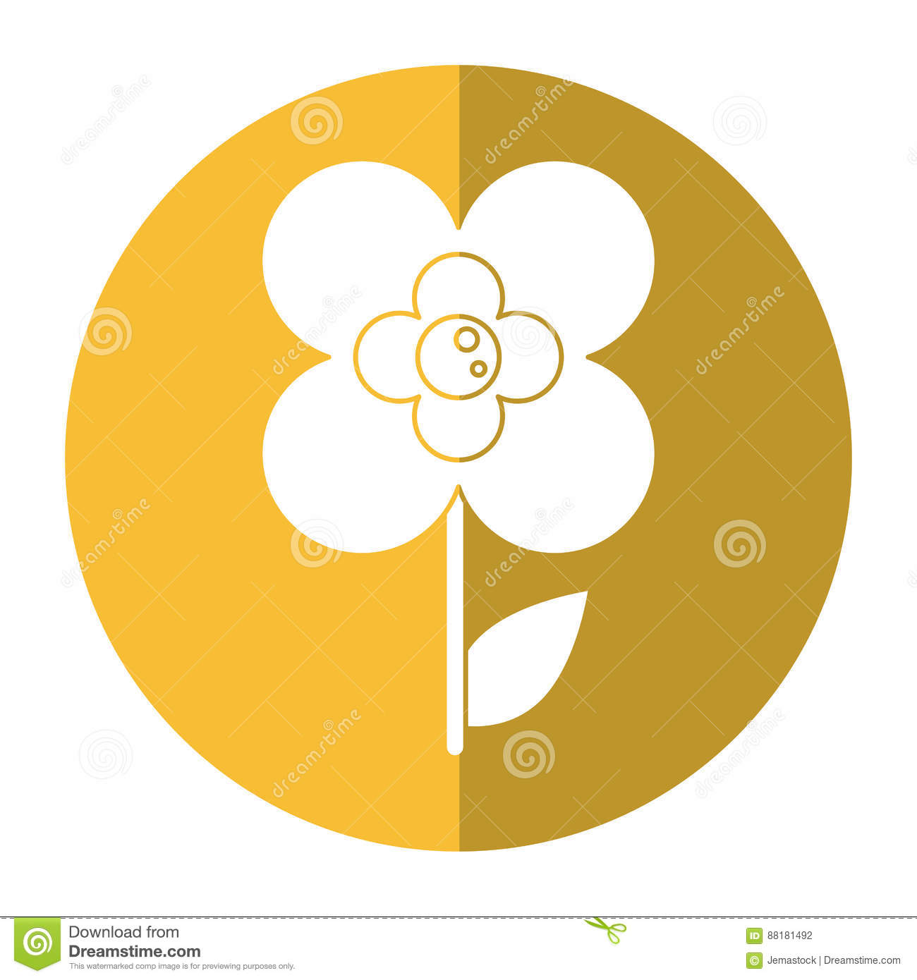 Buttercup Flower Natural Shadow Stock Illustration.