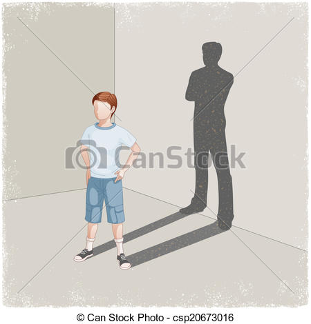 Vector Clip Art of Child casting shadow of young man in vector.