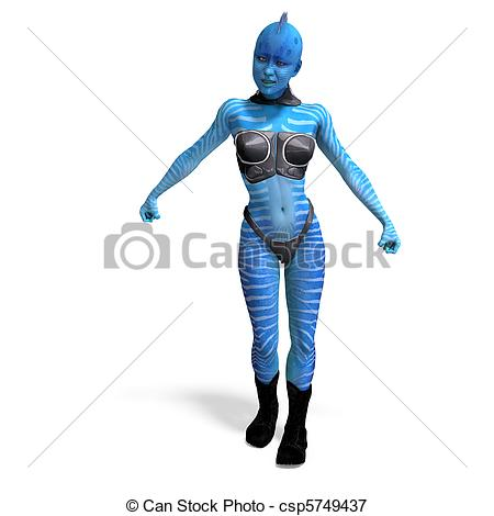 Stock Illustrations of female blue fantasy alien. 3D rendering and.