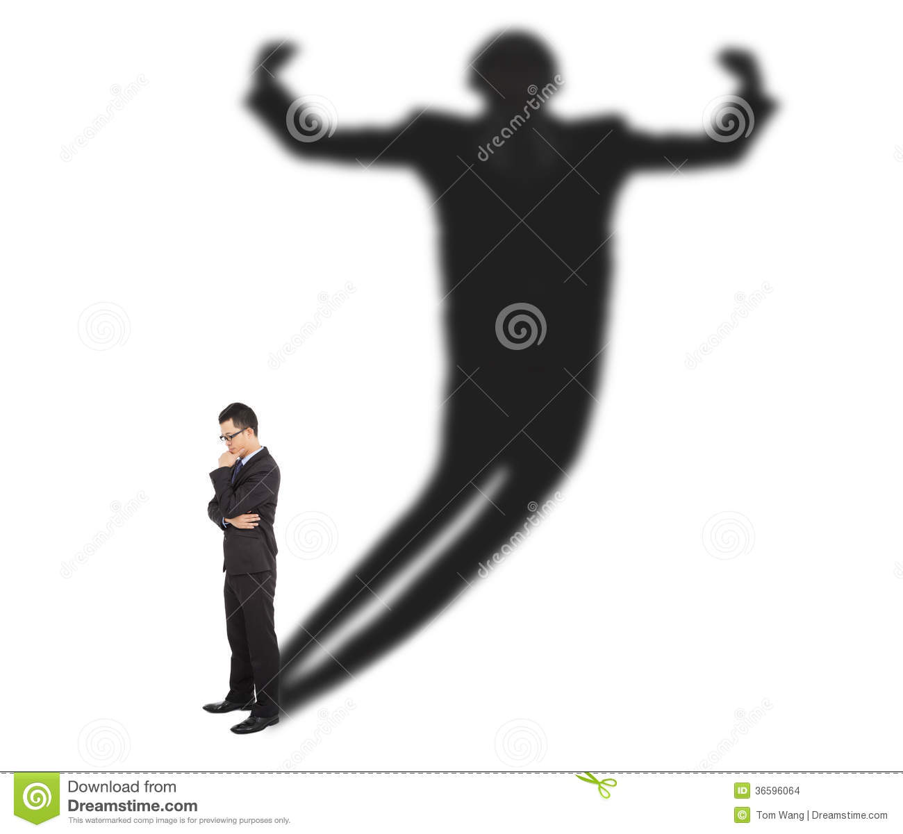 Business Man Standing And Casting Shadow Of A Strong Man Stock.