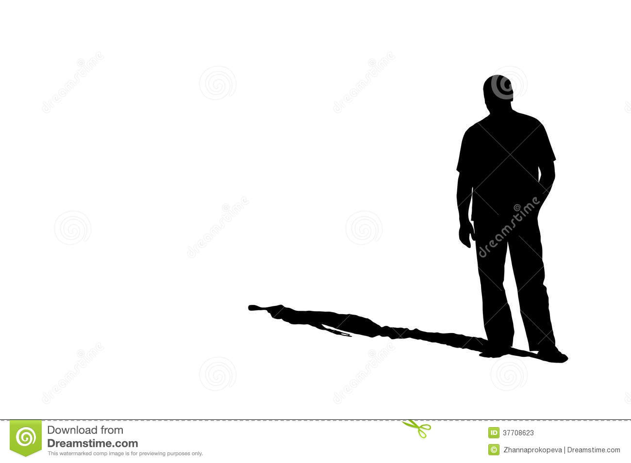 Silhouette Shadow Of Man Stock Photo.