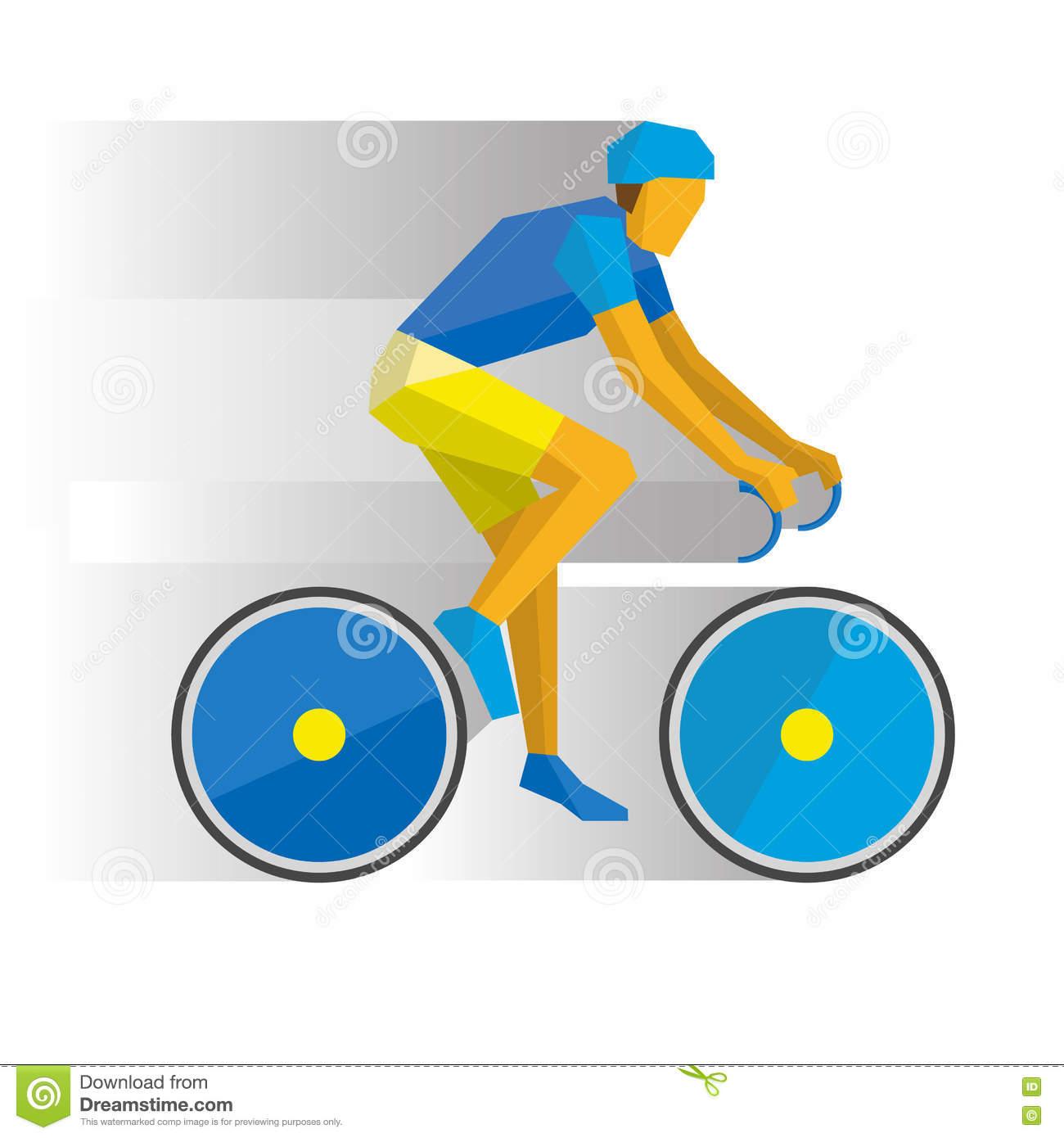 Cartoon Cyclist On A Bike, With Shadows Behind Stock Vector.