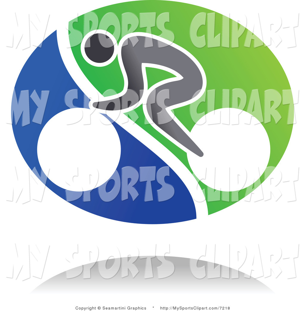 Sports Clip Art of a Abstract Cyclist and Shadow Icon by Vector.
