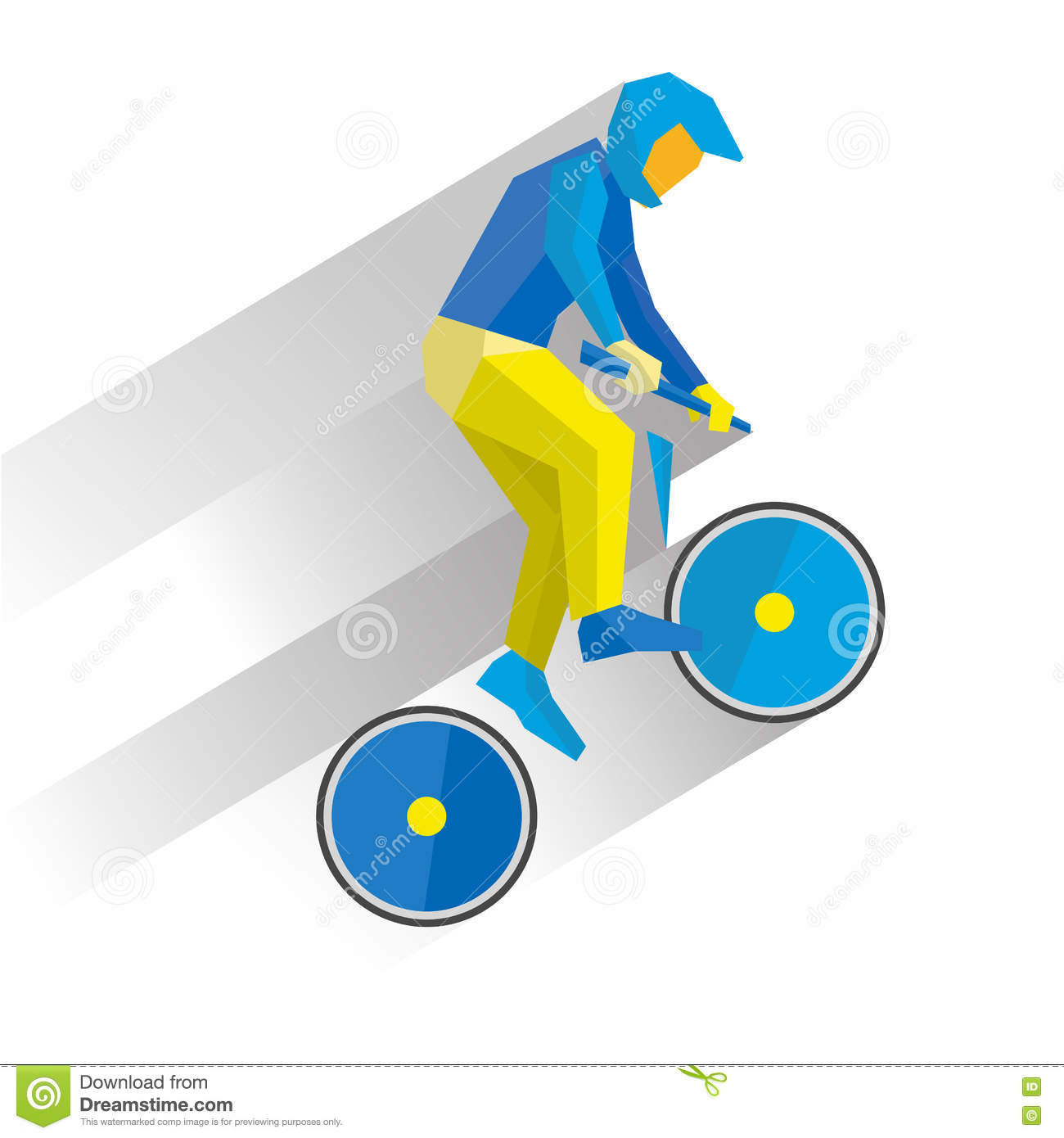 Cycling BMX. Cartoon Cyclist Jump On Bike, With Shadows Behind.