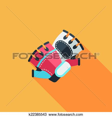 Clipart of cycling gloves flat icon with long shadow,eps10.
