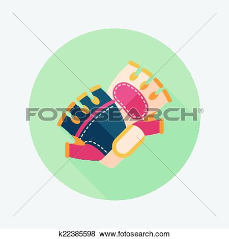 Clip Art of cycling gloves flat icon with long shadow,eps10.
