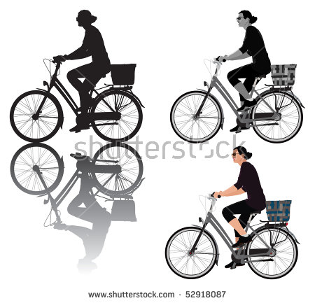 Vector Illustration Of A Lady Riding Bicycle. For Usage Choice Are.