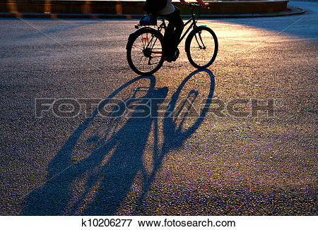 Picture of Shadow of cyclist on city street in evening light.