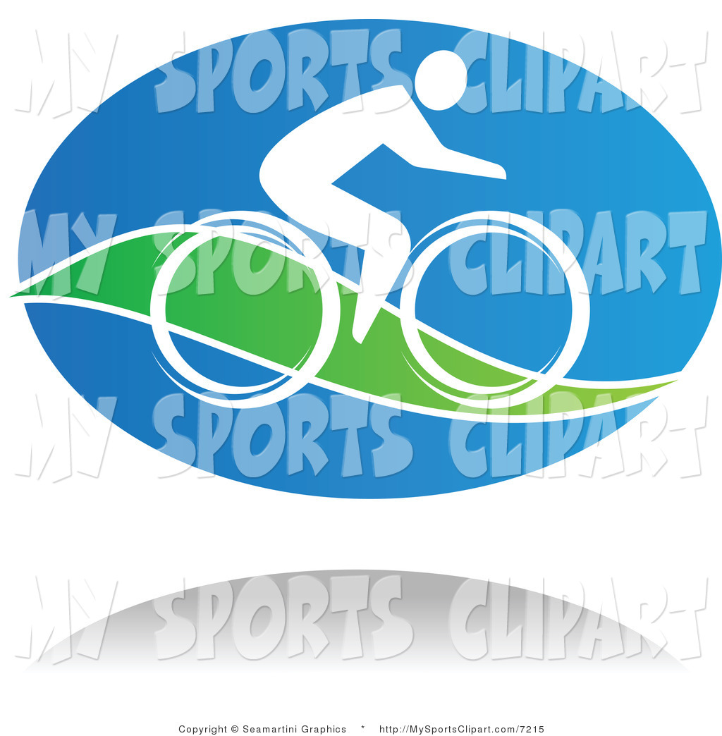 Sports Clip Art of a Blue White and Green Cyclist and Shadow by.
