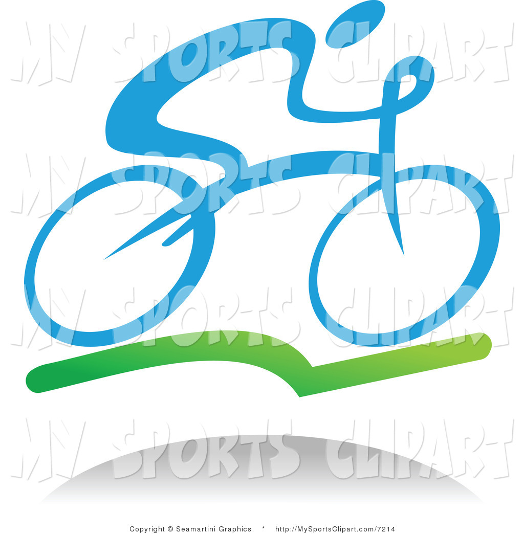 Sports Clip Art of a Cyclist and Shadow by Vector Tradition SM.