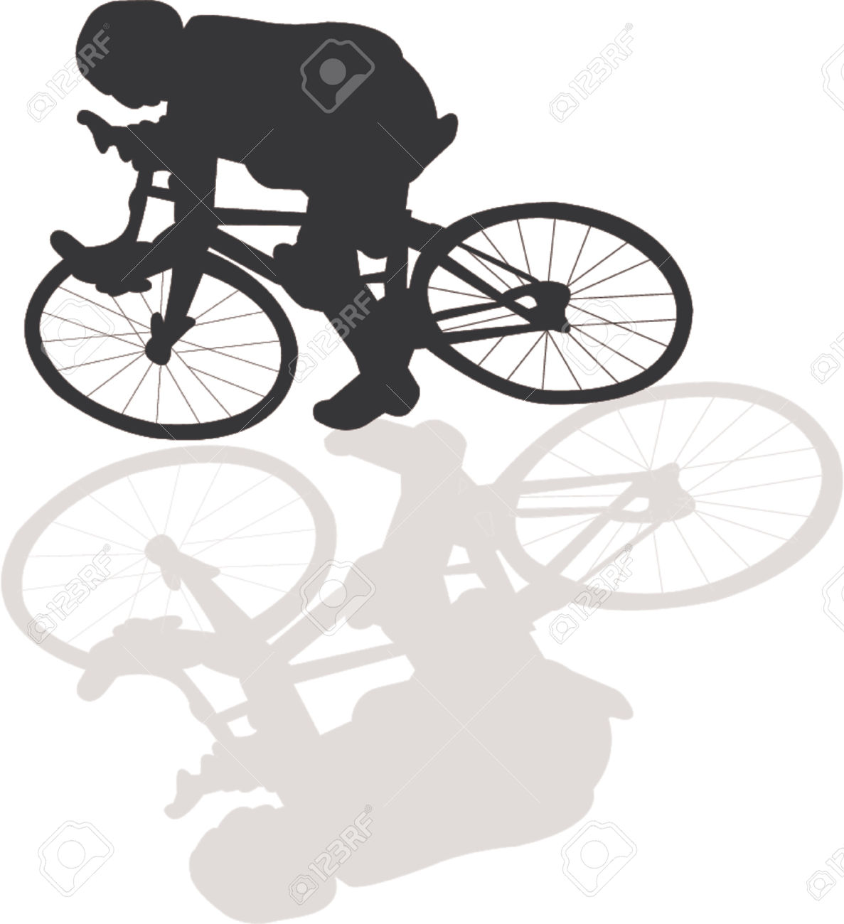 Bicycle Vector Silhouette With Shadow Royalty Free Cliparts.
