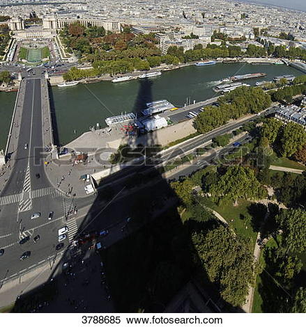 Stock Image of The Seine and shadow of the Tour Eiffel, Paris.