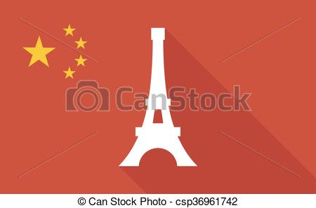 EPS Vector of China long shadow flag with the Eiffel tower.