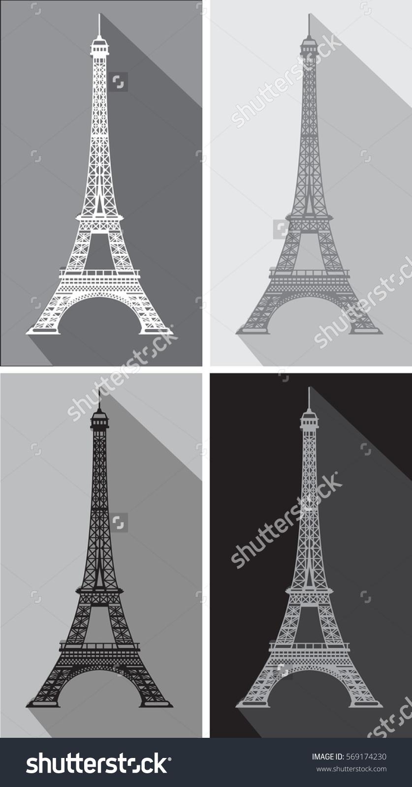 Vector Eiffel Tower Shadow Stock Vector 569174230.